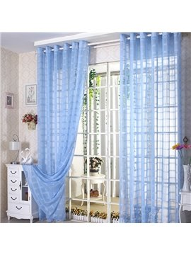 Elegant Solid Contemporary Blue Custom Sheer Curtain