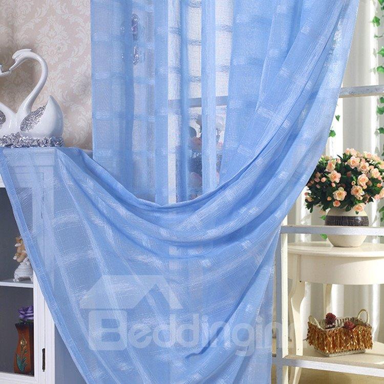 Elegant Solid Contemporary Blue Custom Sheer Curtain