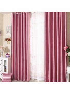 Elegant Contemporary Strip Pink Grommet Top Custom Curtain