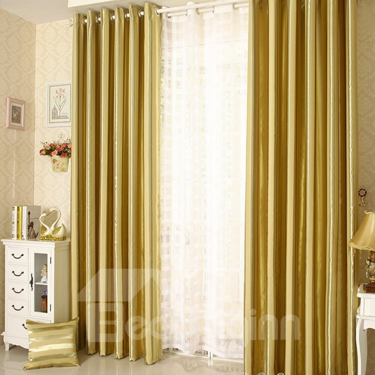 Elegant Contemporary Strip Yellow Grommet Top Custom Curtain