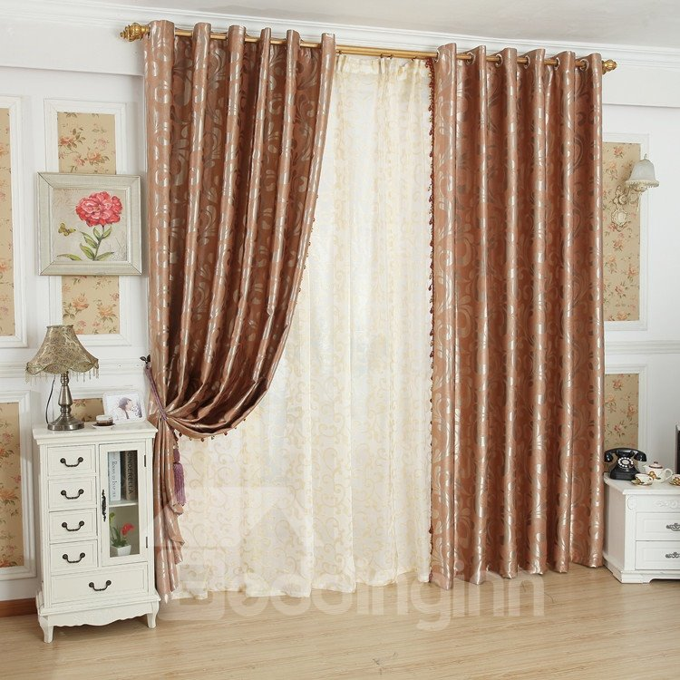 Fancy Luxurious Beautiful Patterns Grommet Top Custom Curtain