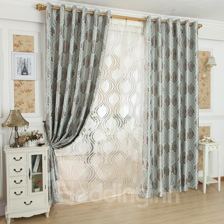 Fantastic Contemporary Blue Beautiful Patterns Grommet Top Custom Curtain