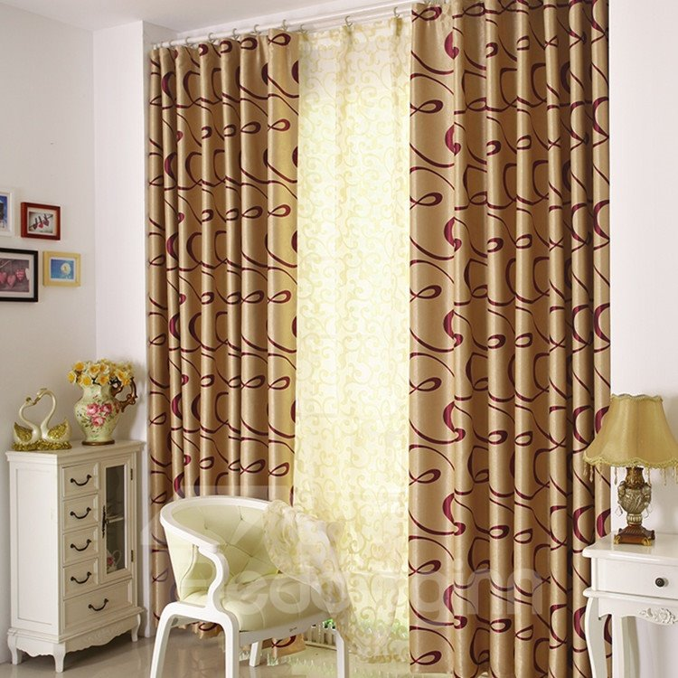 Fantastic Contemporary Beautiful Curve Patterns Grommet Top Custom Curtain 10953172