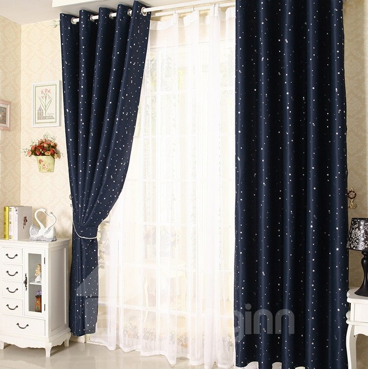 Elegant Contemporary Beautiful Star Pattern Dark Blue Grommet Top Custom Curtain