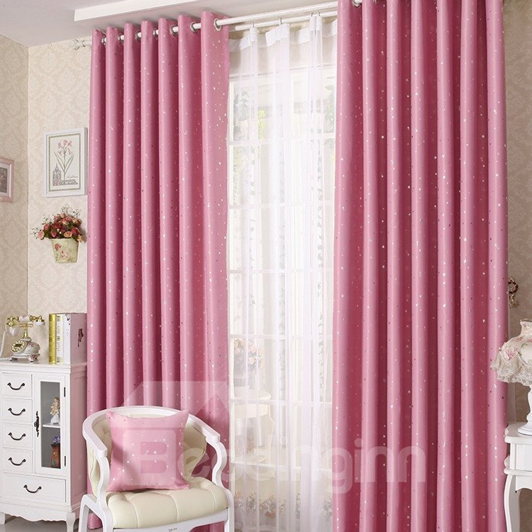 Elegant Contemporary Beautiful Star Pattern Pink Grommet Top Custom Curtain 10953220