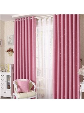 Elegant Contemporary Beautiful Star Pattern Pink Grommet Top Custom Curtain