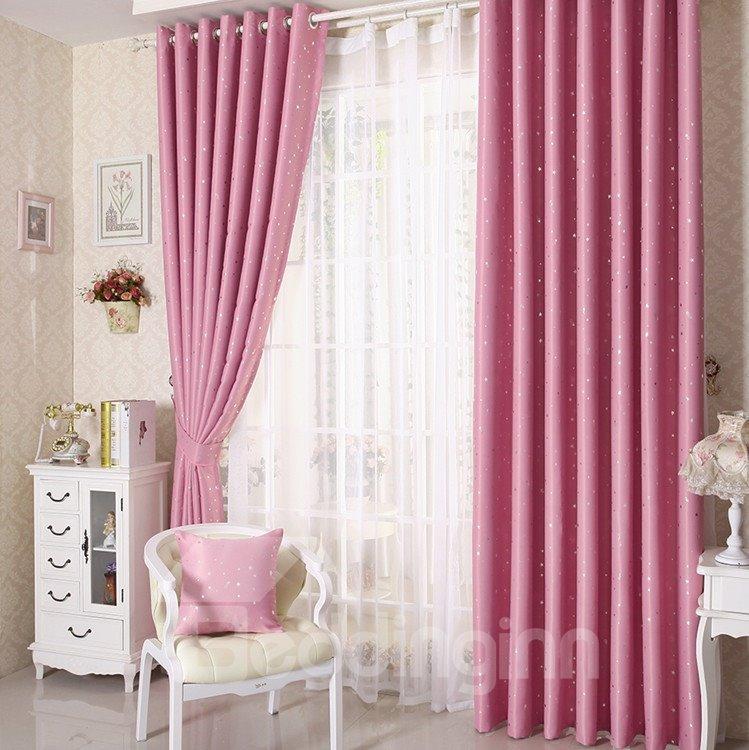 Elegant Contemporary Beautiful Star Pattern Pink Grommet Top Custom Curtain
