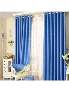 Elegant Contemporary Beautiful Star Pattern Blue Grommet Top Custom Curtain