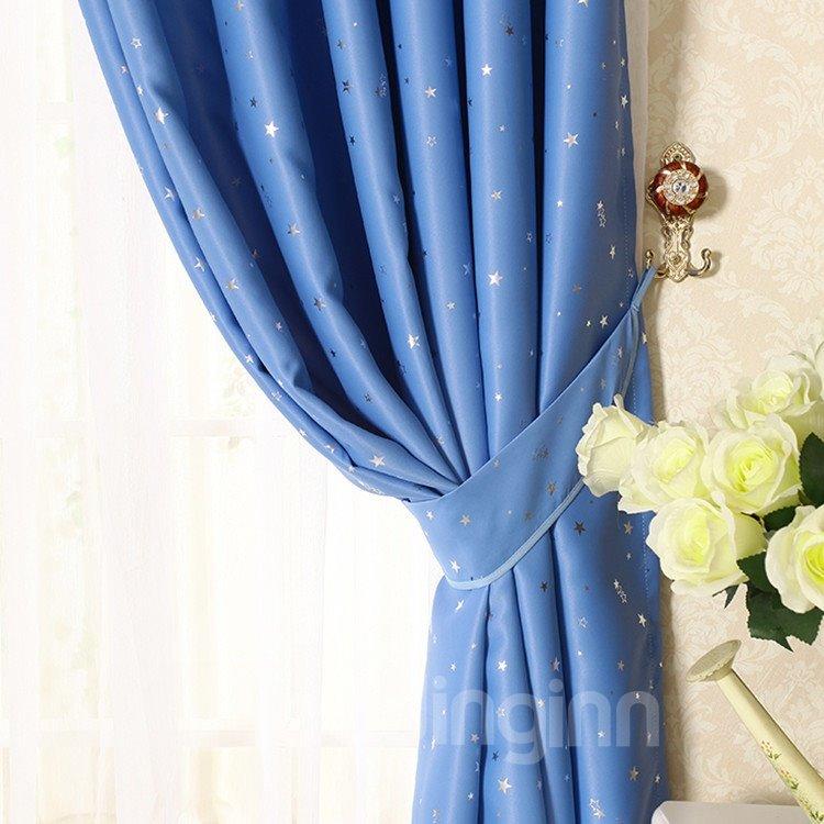 Elegant Contemporary Beautiful Star Pattern Blue Grommet Top Custom Curtain