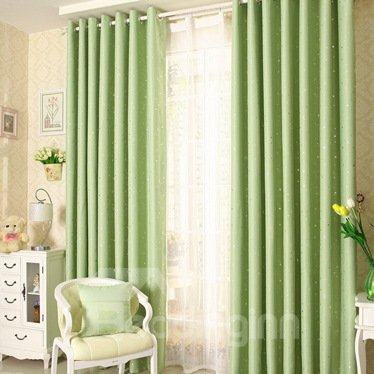 Elegant Contemporary Beautiful Star Pattern Green Grommet Top Custom Curtain 10953232