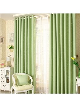 Elegant Contemporary Beautiful Star Pattern Green Grommet Top Custom Curtain