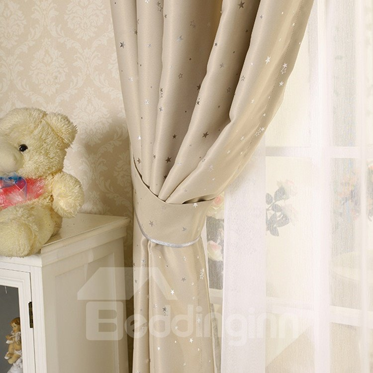 Elegant Contemporary Beautiful Star Pattern Beige Grommet Top Custom Curtain