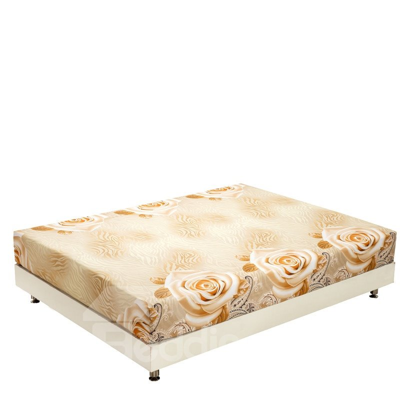 New Arrival Retro Style Delicate Roses Print 3D Fitted Sheet