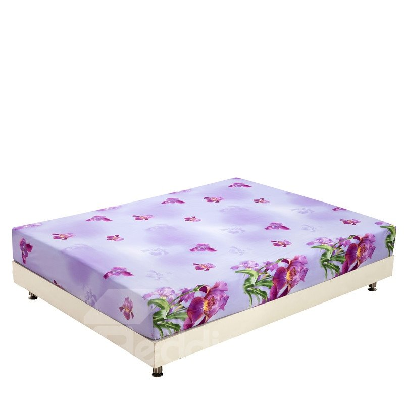 New Arrival Fancy Purple Flowers Blossom Print 3D Fitted Sheet