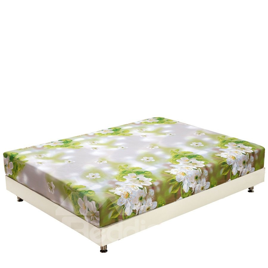 New Arrival Delicate White Blooming Flowers Print 3D Fitted Sheet