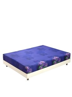 New Arrival Amazing Purple Flowers and Green Leaves Print 3D Fitted Sheet