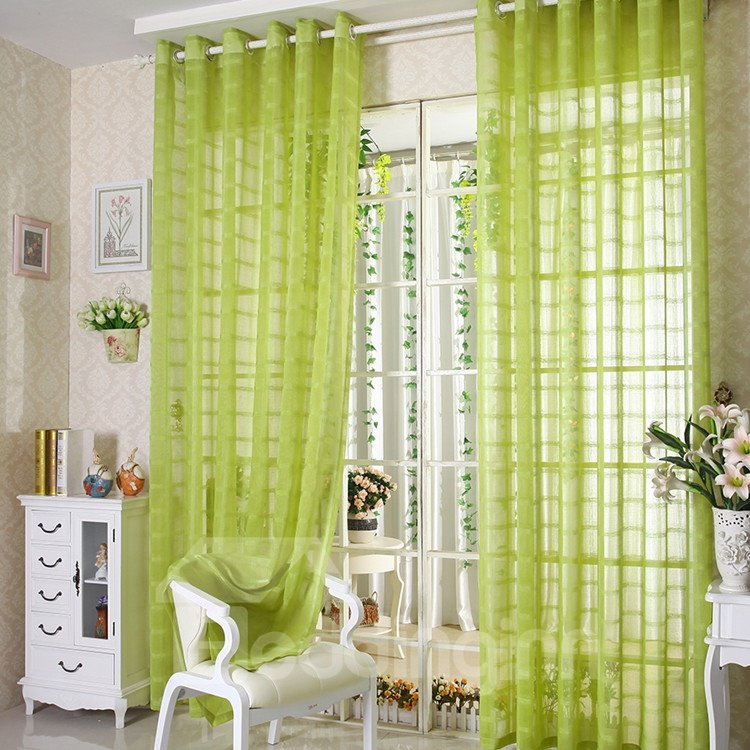 New Arrival Elegant Comtemporary Light Green Custom Sheer Curtain