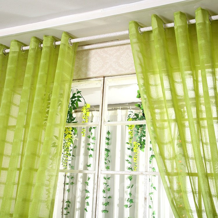Elegant Contemporary Light Green Custom Sheer Curtain