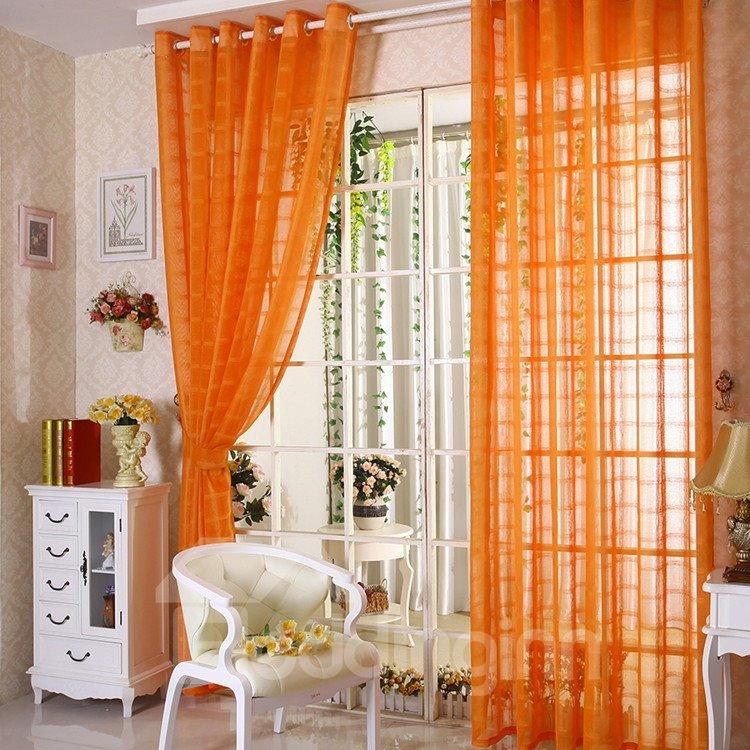 Elegant Contemporary Solid Orange Custom Sheer Curtain