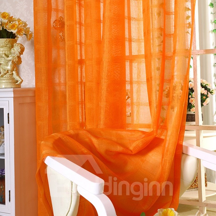 Elegant Contemporary Solid Orange Custom Sheer Curtain