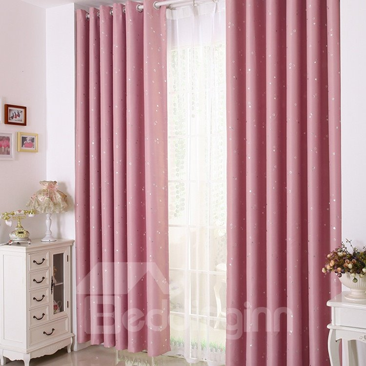 Elegant Contemporary Beautiful Heart-shaped Patterns Pink Grommet Top Custom Curtain 10953309