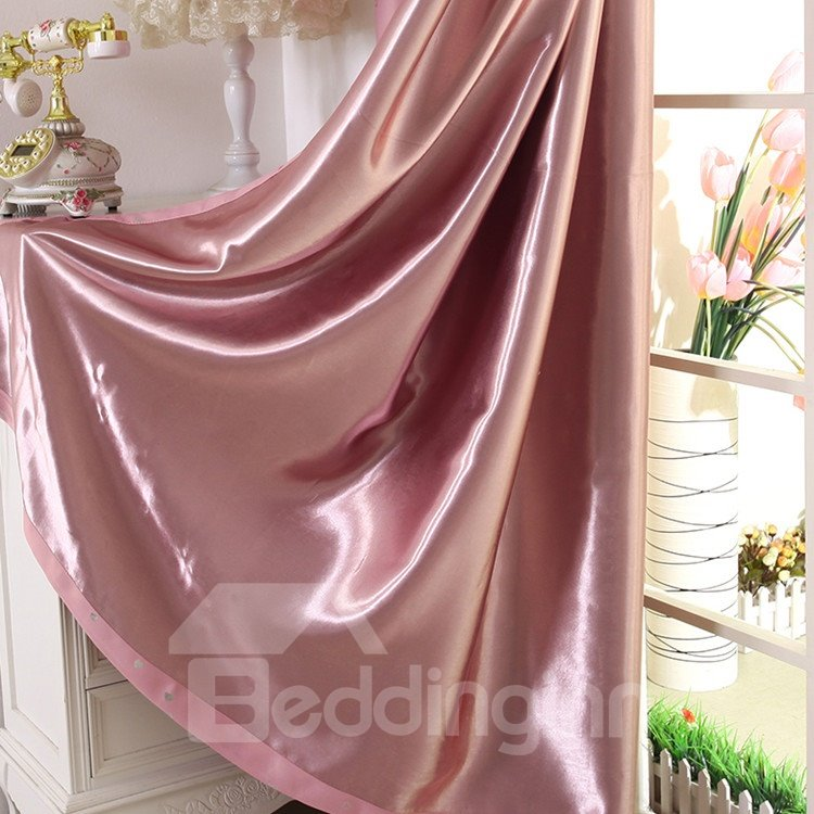Elegant Contemporary Beautiful Heart-shaped Patterns Pink Grommet Top Custom Curtain