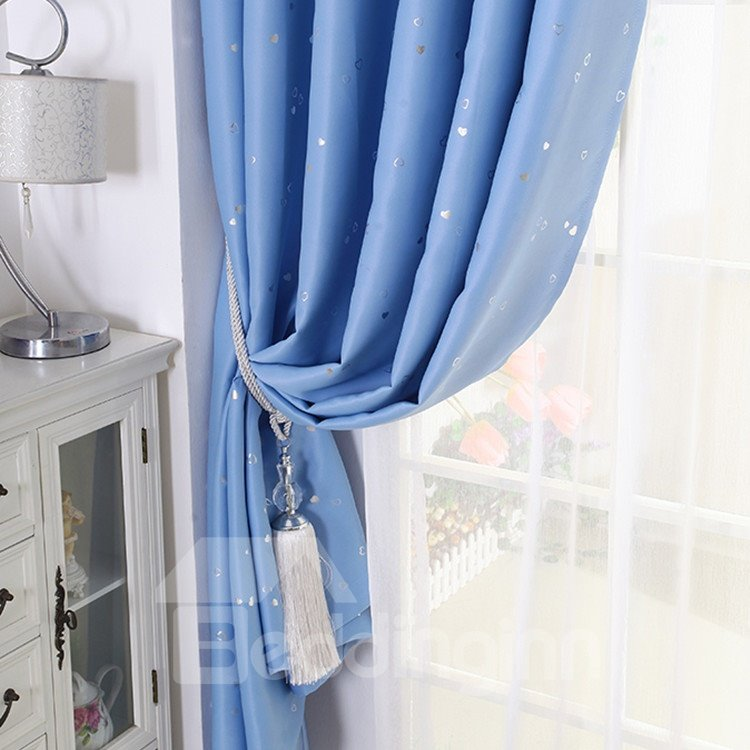 Contemporary Blue Hearts Interspersed Grommet Top Curtain