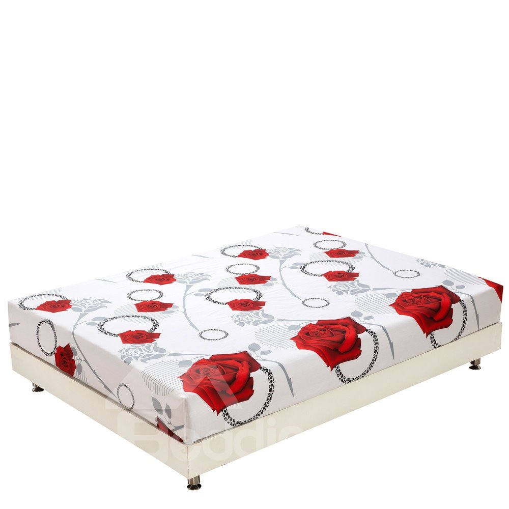 New Arrival Cinderella Fantastic Elegant Red Roses Print 3D Fitted Sheet