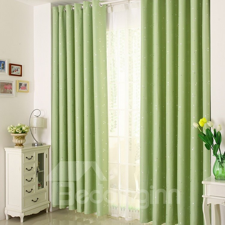 Elegant Contemporary Beautiful Heart-shaped Patterns Green Grommet Top Custom Curtain