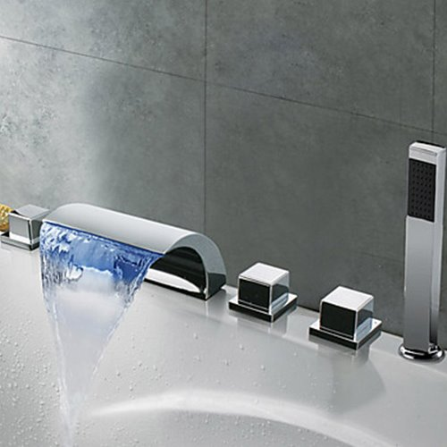 Contemporary Chrome Finish Thermochromic LED Waterfall Bathroom Tub Faucet