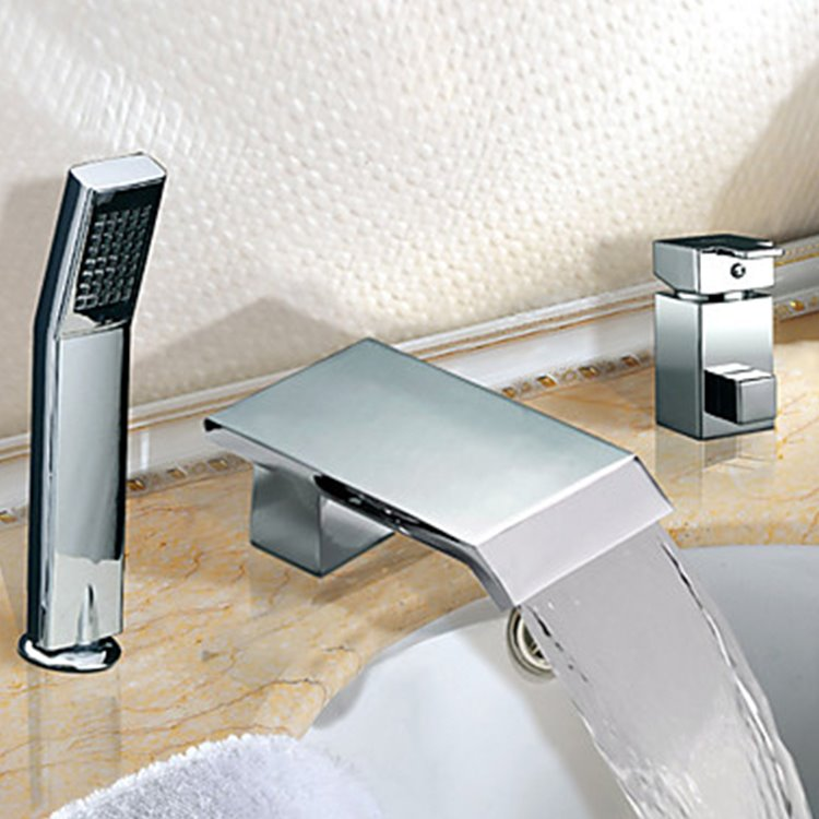 Chrome Finish Two Handles Widespread Waterfall Contemporary Hand Shower Bathtub Faucet