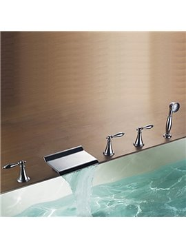 Modern Design Chrome Finish Rectangular Waterfall Tub Faucet