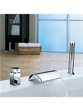 Contemporary Chrome Finish Two Handles Widespread Waterfall Bathtub Faucet