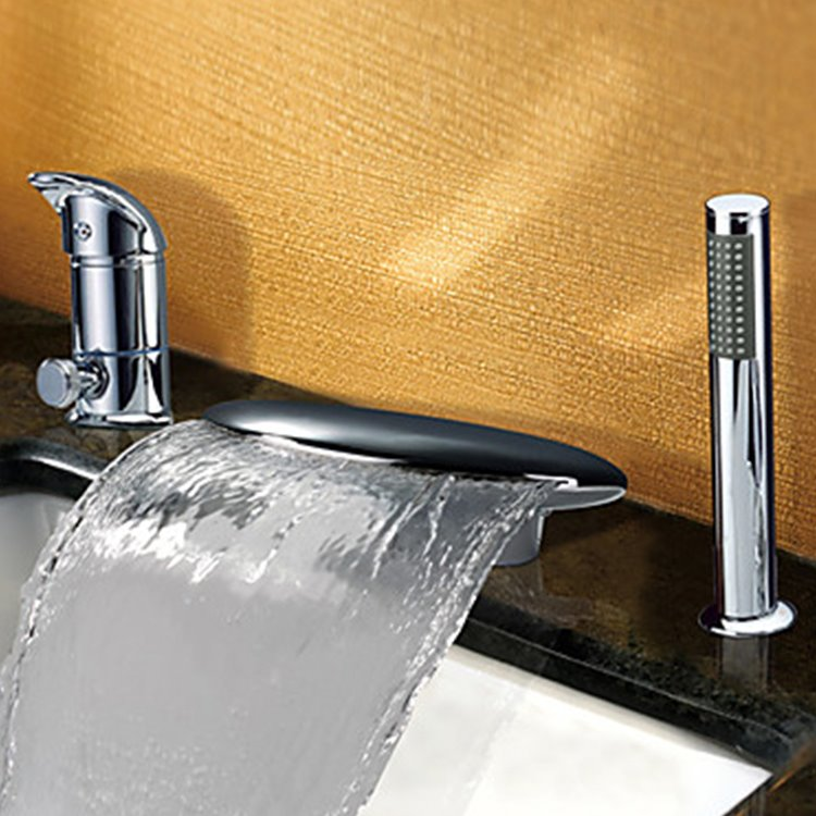 Fancy Contemporary Widespread Waterfall Two Handles Bathtub Faucet