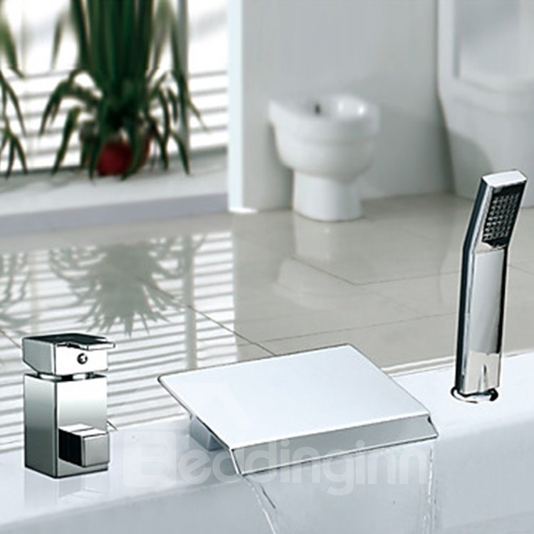 Amazing Contemporary Chrome Finish Two Handles Widespread Waterfall Bathtub Faucet