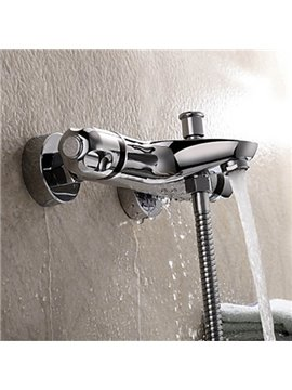 Thermostatic Chrome Finish Wall Mounted Bathtub Faucet
