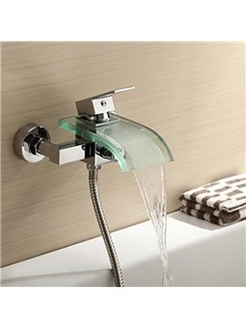 Contemporary Glass Spout Wall Mounted Bathtub Faucet
