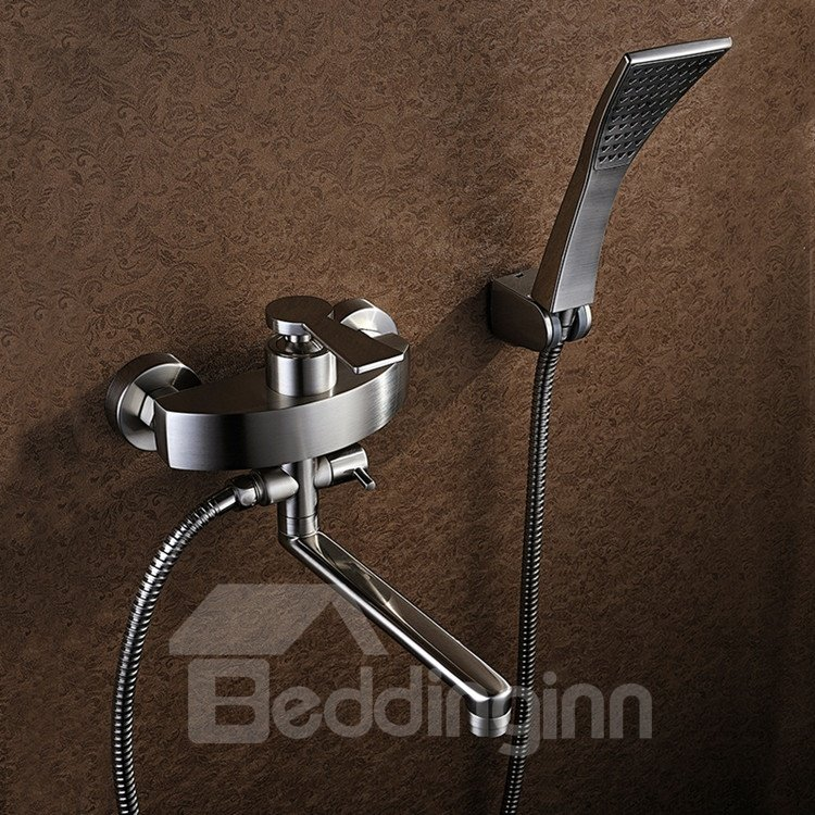 Contemporary Nickel Brushed Handshower and Rotatable Spout Bathtub Faucet