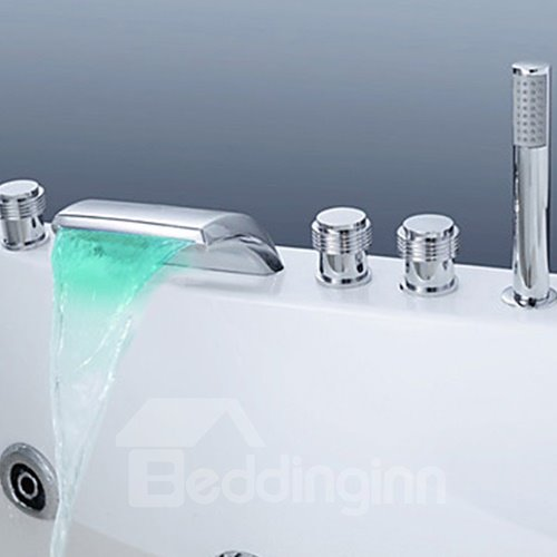 Color Changing LED Waterfall Hand Shower Bathtub Faucet