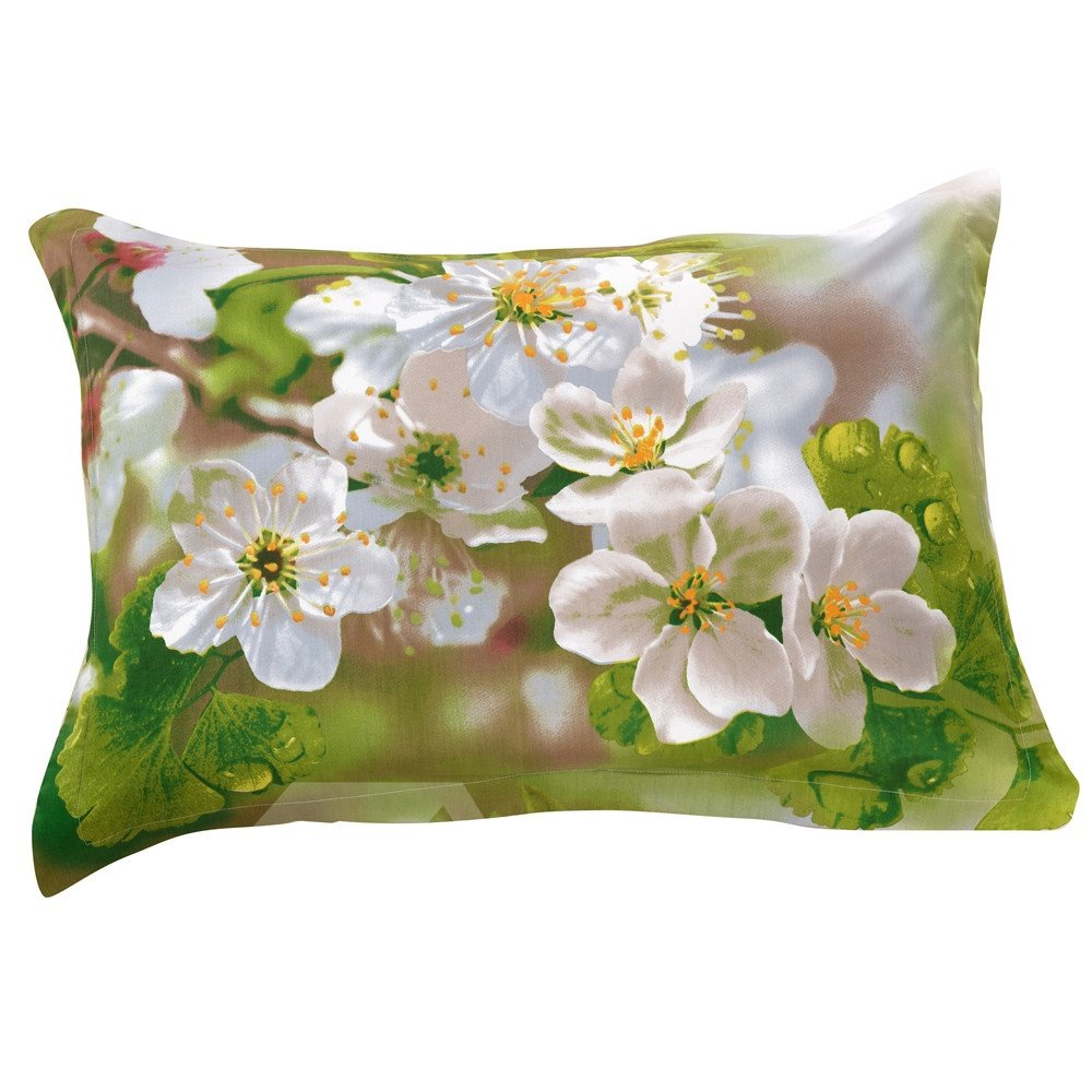 New Arrival Fancy Fragrant White Flowers Two Pieces Pillow Case