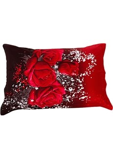New Arrival Bright Red Roses Two Pieces Pillow Case