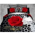 Skincare Red Rose and Leopard Print 4-Piece Polyester 3D Duvet Cover Sets