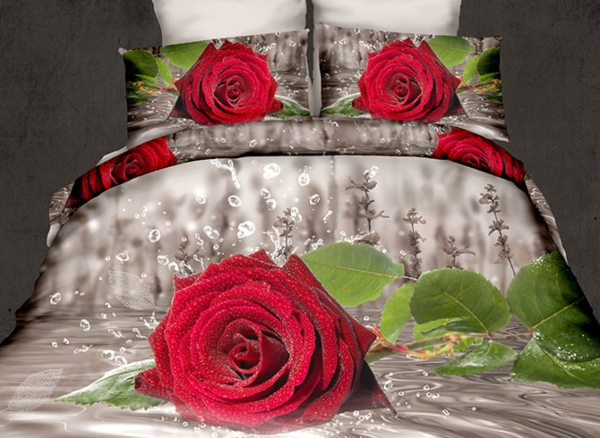 Fresh Red Rose in Water Print 4-Piece Cotton 3D Duvet Cover Sets beddinginn