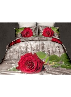 Fresh Red Rose in Water Print 4-Piece Cotton 3D Duvet Cover Sets