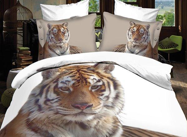 Popular Golden Tiger Print 4-Piece Polyester 3D Duvet Cover Sets