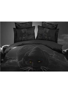 Personality Black Leopard Print 4-Piece Polyester 3D Duvet Cover Sets