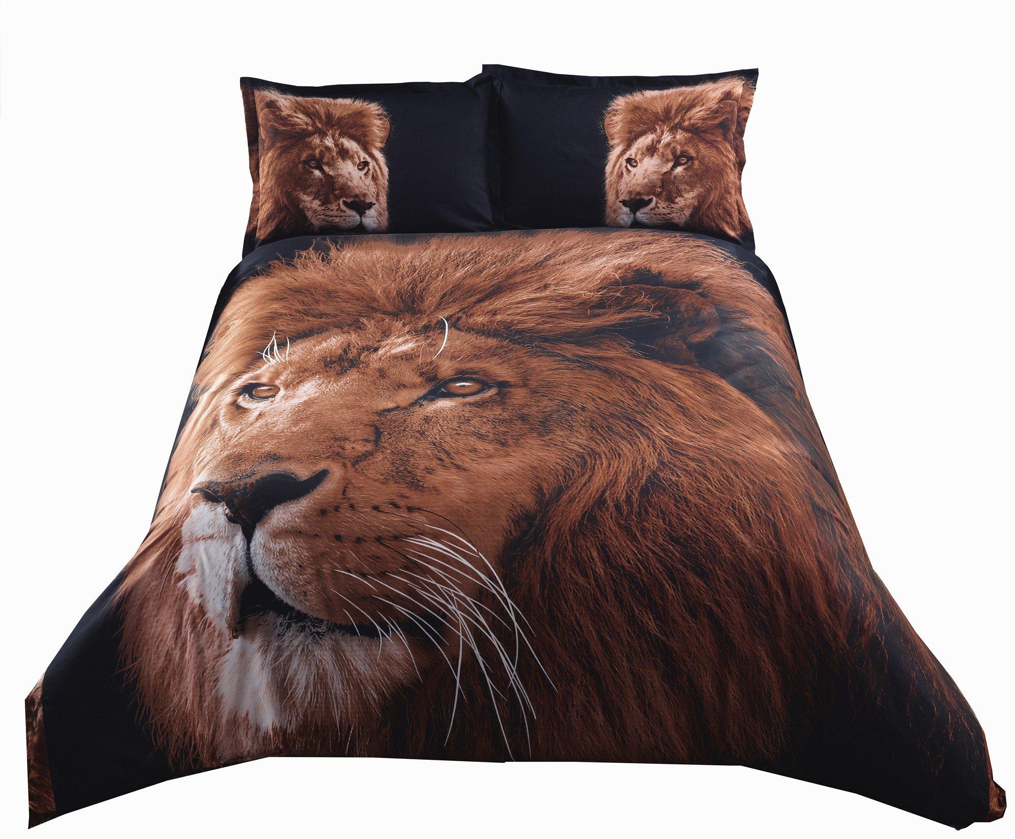 Inspiring Lion Print 4-Piece Polyester 3D Duvet Cover Sets