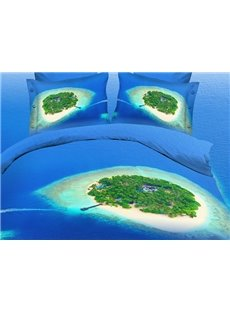 Green Island and Dark Blue Sea Print 4-Piece Polyester 3D Duvet Cover Sets