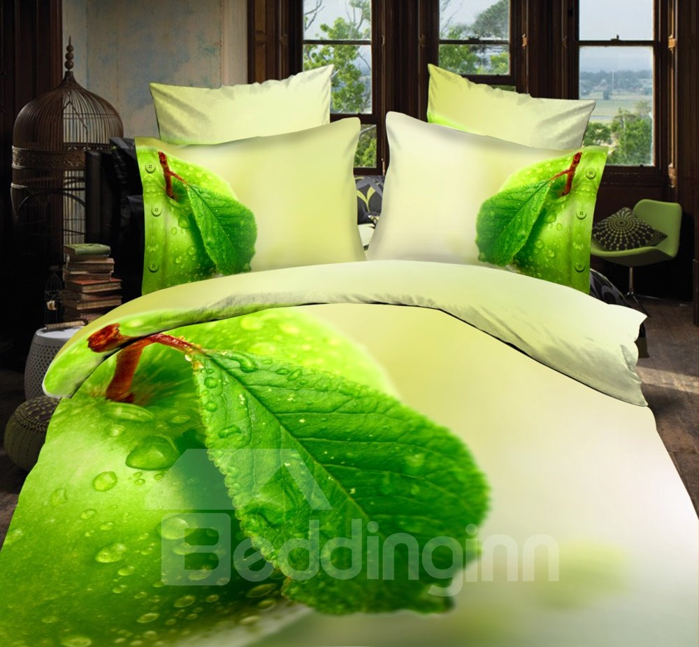 Dewy Green Fresh Leaves Print 4-Piece Polyester 3D Duvet Cover Sets