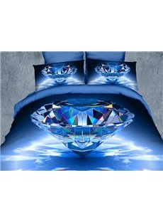 Luxury Big Blue Diamond Print 4-Piece Polyester 3D Duvet Cover Sets